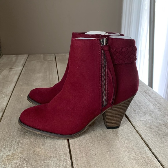 c8e3df5cfc62f Mia Shoes | New Burgundy Wine Suede Braided Booties 8 | Poshmark